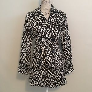 Black and White Trench Pea Coat with Tie